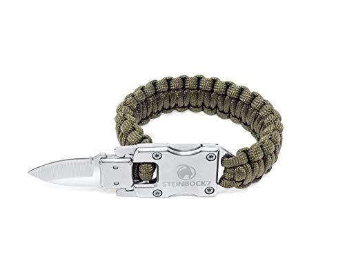 STEINBOCK7 Survival Paracord Männer Armband - Tactical Mini Messer, Anleitung zum Flechten, Grün -