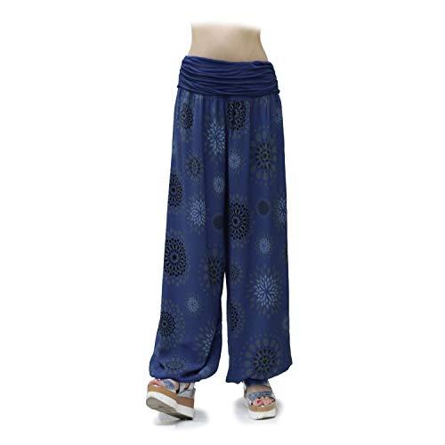 Glamexx24 Damen XXL Leichte Pumphose Haremshose Freizeithose Sommerhose Hose mit vielen Muster 13090, Marineblau, XL/XXXL