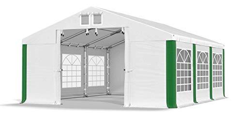 Das Company Partyzelt 4x6m wasserdicht weiß-grün mit Bodenrahmen und Dachverstärkung 560g/m² PVC Plane Robust Festzelt Gartenzelt Summer Plus SD