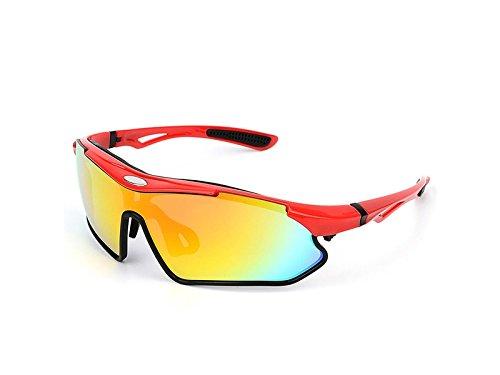 Yhcean Radfahren PanpA Herren Damen Schutz Sport Sonnenbrillen Radsportbrille für Outdoor Sports (Rot) Fahrradzubehör