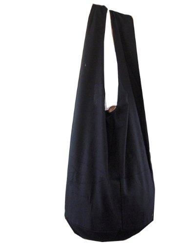 BTP. Thai monje Buda hippie–Bolso bandolera Crossbody Bolsa Bolso Bandolera algodón hadmade regalo XL color sólido, negro (Negro) - 10443275