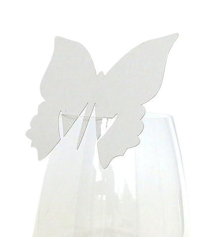 50x Tischkarten Hochzeit EinsSein® Schmetterling weiß - Tischkarten, Platzkarten, Namenskarten, Platzkartenhalter