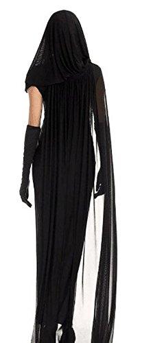 aimerfeel-Frauen schwarze Geisterbraut, böse Königin lange cosplay Kleid + lange Vampir Umhang mit Kapuze, Dame ausführen Kostüme Halloween und Abendkleid, Größe M (38-40) -