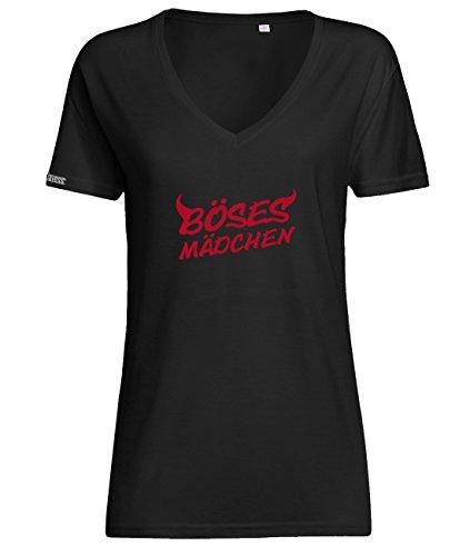 Böses Mädchen - Teufel - Damen V-Neck T-Shirt in Schwarz by Jayess Gr. XXL
