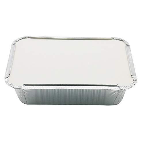 ASSR Aluminiumfolien-Pfannen, Einweg-Grill-Auffangschale für Lebensmittel mit Deckel für Restaurant, Grill, Catering, Backen, Heizen, Braten 19,5 cm x 14 cm x 5,5 cm, 30 Stück