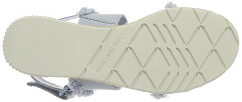 Calvin Klein Jeans Muriel Fringe Canvas, Sandales Bout Ouvert Femme Turquoise (Chambray)
