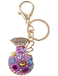 Banggood ELECTROPRIME Opal Money Purse Keychain Keyring Bag Charm Key Ring Pendant Gifts Purple