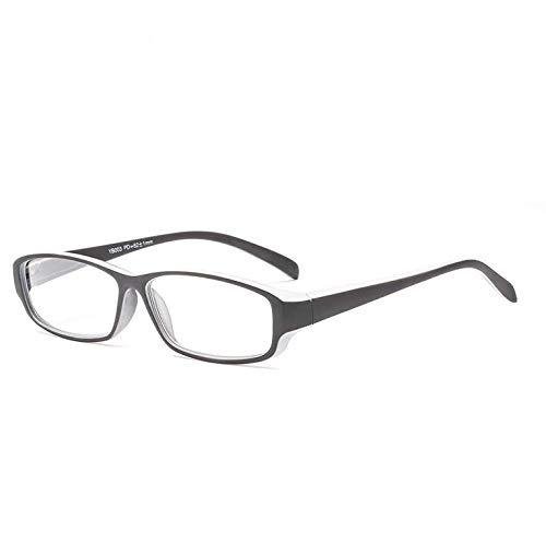 TENGGO Schwarz-Weiß Rahmen Klassische Harz Ultra Leichte Lesebrille - Männer Und Frauen Retro-Lesung Gläser-1.5