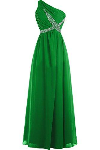 Missdressy Damen Chiffon Lang Einschulter Falten Steine Abendkleid Partykleid Ballkleid Festkleid Grün