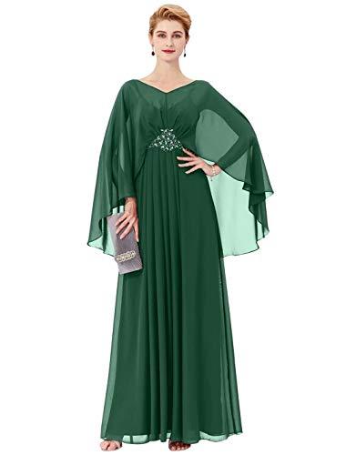 WAZA Etui-Linie V-Ausschnitt Bodenlang Chiffon Kleid für die Brautmutter mit Perlenstickerei - 55 Wh Apple