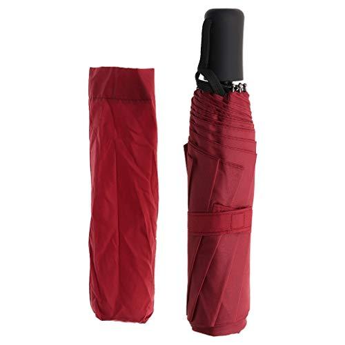 CADANIA Umbrella Faltbarer, kompakter, verstärkter Rahmen Auto Open Close Wasserdicht Winddicht - Weinrot