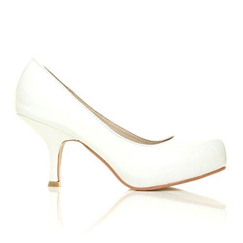 Ada scarpe in cuoio sintetico vernice bianca tacco medio decolleté Vernice bianca