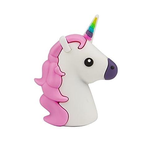UBMSA Latest Lightweight Licorne Emoji Powerbank 2600 mAh Chargeur de batterie de secours Licorne et Pink