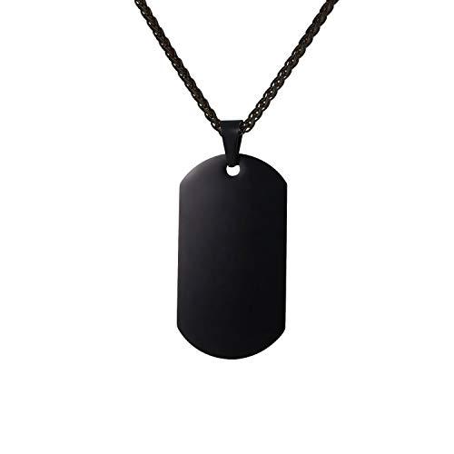 U7 Militärische Erkennungsmarke Herren Modeschmuck schwarz Edelstahl Dog Tag mit 3mm/60cm Kette Männer Jungen Anhänger Halskette einzigartiges Geschenk für Geburtstag