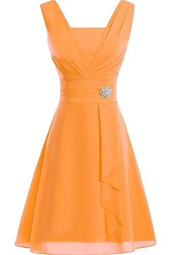 Sunvary Damen Traeger Neu Chiffon Kurz Cocktailkleider Abschlussballkleider Orange