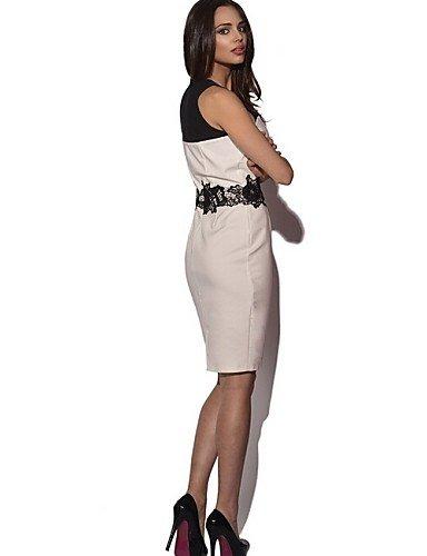 PU&PU Robe Aux femmes Trapèze Sexy / Street Chic,Couleur Pleine Sans Bretelles Au dessus du genou Coton / Polyester WHITE-XL