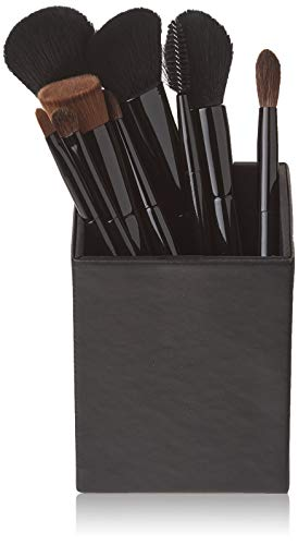 amoore 9 Stück Make Up Pinsel Set Make up Pinselsets Schminkpinsel Make Up Buersten Foundation Pinsel Holzgriff mit der PU Leder Pinsel Eimer Kosmetik (9 Pcs, schwarz) -