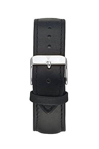 Paul Valentine Bracelet de Montre | Noir en Cuir Véritable