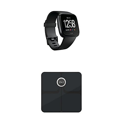 Fitbit Versa Health & Fitness Smartwatch, schwarz, One Size, FB505GMBK-EU + Aria 2 Intelligente Wlan-Waage, Black, Onesize