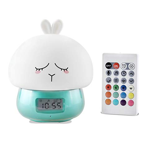 Heaviesk Alarm Clock Wake Up Night Light Remote Control Desktop Recording Light Lamp (Clock Control Remote Alarm)