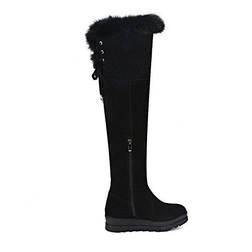 AgooLar Damen Reißverschluss Quadratisch Zehe Hoch-Spitze Stiefel mit Metallisch, Braun, 35