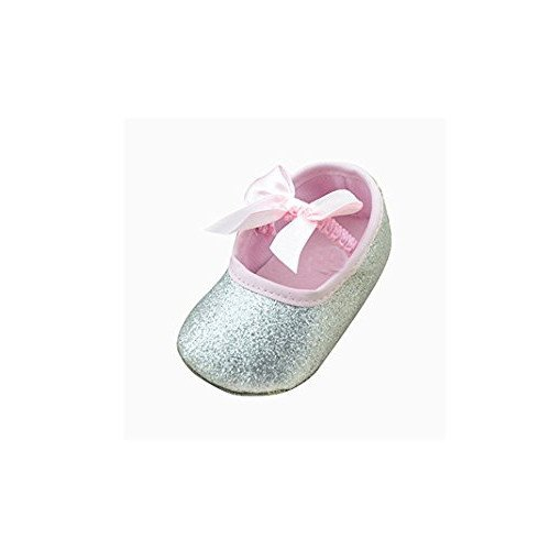 kingko® Baby Girl douce Sole bowknot Bling Bling Chaussures Prewalker Chaussettes Sneakers Argent