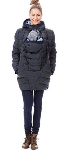 GoFuture Damen Tragejacke für Mama und Baby 4in1 Känguru Jacke Umstandsjacke Daunen Winter Noorvik GF2318XA5 Marine mit blauem Innenfutter - 2