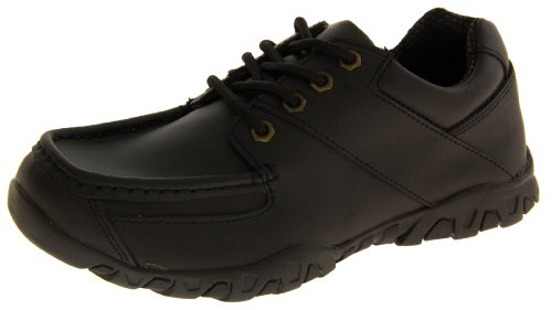 Boys Kids Childrens Black LEATHER Formal Classic Casual Back To School Shoes