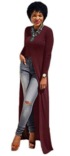 Frauen-reizvolle lange Hülsen-Split Clubwear Kleid-Mantel-Outwear Partei-Kleid Wein