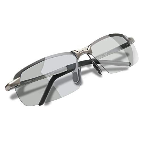 WHCREAT Herren Photochromatisch Polarisierte Sonnenbrille für Fahren Draussen Sport mit Ultraleicht AL-MG Rahmen - Metallisch Grau Rahmen Grau Linse