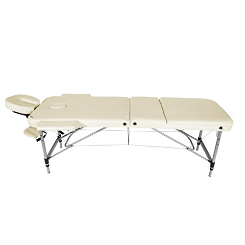 Image of Mari Lifestyle - Vienna Professional Series Cream Ultra Lightweight Aluminium 3-Section Foldable Portable Massage Table Bed with Carry Bag