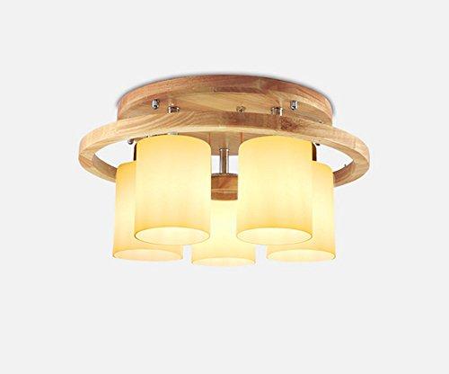LLKOZZ Decke, Holz Wohnzimmerlampe kreative LED-Gartenleuchten Schlafzimmer Moderne minimalistische Holzdecke E27 (Size : 5 Head)