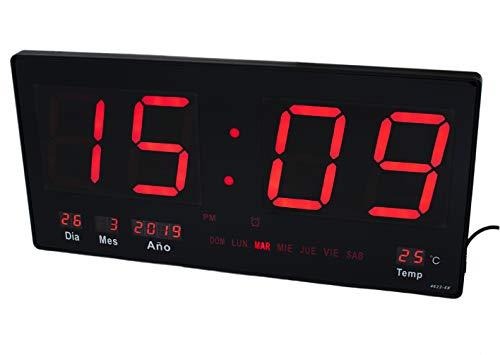 JeVx Reloj Digital Grande Pared Led Color Rojo Calendario