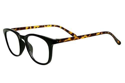 Designer Lesebrillen Damen schwarz beige gepunktet moderner transparenter Rahmen glänzend sehr leicht schöne große Gläser schmale Bügel Safarilook, Dioptrien:Dioptrien 1.5