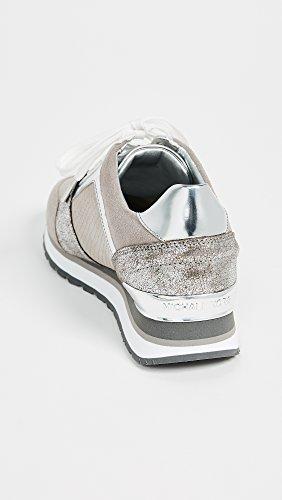 Michael Kors Billie Sneaker En Cuir Rose Et Argent Gris / Argent