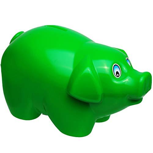 alles-meine.de GmbH 2 Stück _ große XL - Spardosen - Schwein - dunkel grün - 19 cm groß - stabile Sparbüchsen aus Kunststoff / Plastik - Sparschwein - Glücksbringer - für Kinder ..