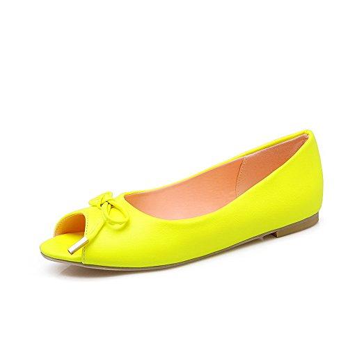 VogueZone009 Donna Finta Pelle Scamosciata Tirare Tacco Basso Heeled-Sandals Giallo
