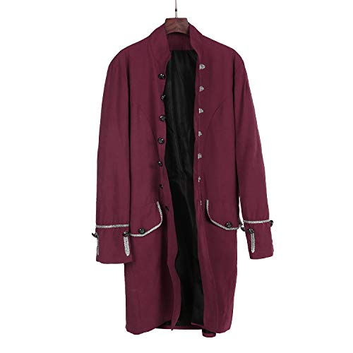 MYMYG Herren Steampunk viktorianischen Mantel mittelalterlichen Jacke Viking Renaissance formalen Frack Gothic Tuxedo Stehkragen Mantel Kostüm Frack Jacke Gothic Gehrock Uniform