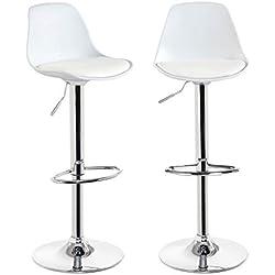 KAYELLES tabourets de bar cuisine design SIG - lot de 2 chaises de bar réglable (Blanc)