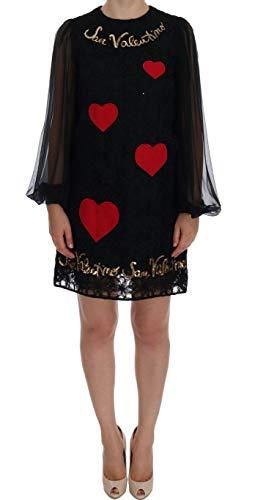 Dolce & Gabbana - Damen Kleid - Black San Valentino Sequined Shift Dress - Dolce & Shift Gabbana