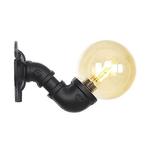 Ganeep Lámpara de pared LED Hierro Negro Tubería de agua Loft Aplique de pared Retro Vintage Industrial...