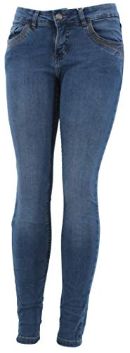 STS 15 Farben Damen Jeans Bermuda Short by Boyfriend Look tiefer Schritt Jeansbermuda mit Kontrastnähten Washed Kurze Hose (M, Middle Blue Denim) - Frauen Blue Denim