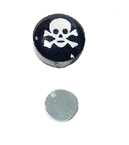1Schwarz Weiß Totenkopf Ohrstecker magnetisch rund nicht Ohrstecker Magnet Clip auf für Herren Jungen-8mm