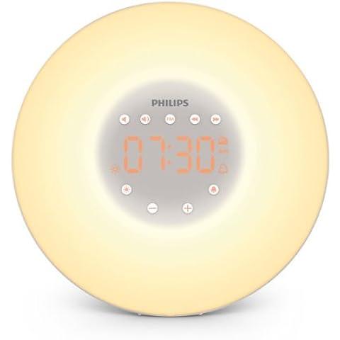 Philips HF3505/01 - Despertador mediante luz Wake- up Light con simulación de amanecer, 2 sonidos naturales y 10 intensidades de luz - importado