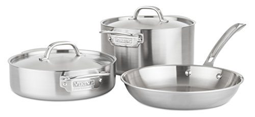 Viking 4515-1S05S Professional 5-Ply Stainless Steel Cookware Set, 5 Piece, Silver