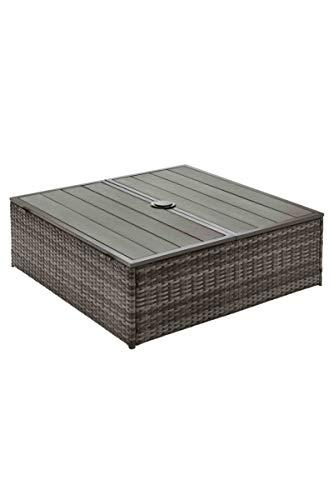 WB Geflecht Schirmständer Verkeidung - Tisch - Stauraum Polystyren Holzstruktur
