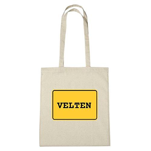 JOllify Velten Borsa di cotone B2207 schwarz: New York, London, Paris, Tokyo natur: Ortsschild