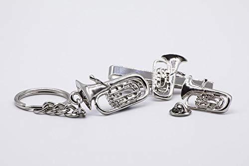Euphonium Tuba Schlüsselanhänger, Krawattenklammer und Anstecknadel Geschenkset