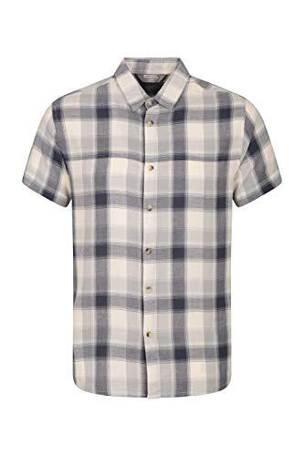 Karierte Hemd (Mountain Warehouse Weekender Kurzarmhemd für Herren - Sommerhemd aus 100% Baumwolle, Freizeithemd, atmungsaktiv Kariertes Hemd, bequemes Oberteil Kurzarm-Shirt Beige XX-Large)