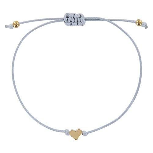 StarAppeal Herz Freundschaftsarmband, Armband mit Perlen in Silber und Gold mit hochwertiger Wachsschnur gefertigt, Damen, Mädchen Armband (Hellgrau-Gold)